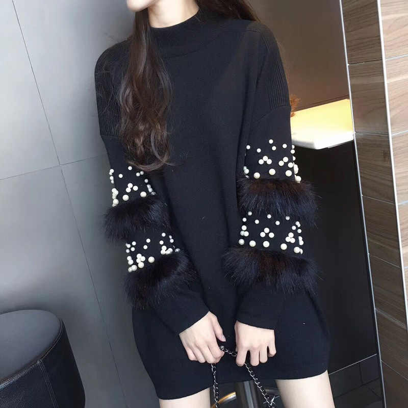 Winter turtleneck Women Sweater 2019 Pearl Beading Women Sweater Pullovers  Warm Faux Fur Embellished Knitted Sweaters a2587bf7d