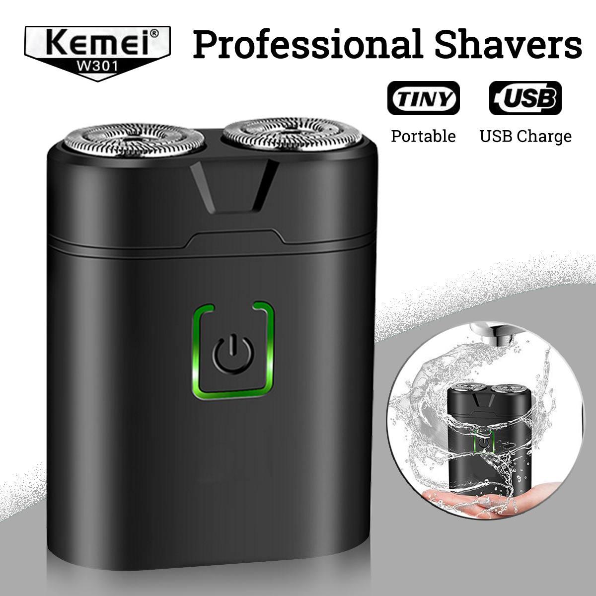 Kemei Mini Electric Shavers For Men Waterproof Shaving Machine Double-Ring Blade USB Rechargeable Beard Razor