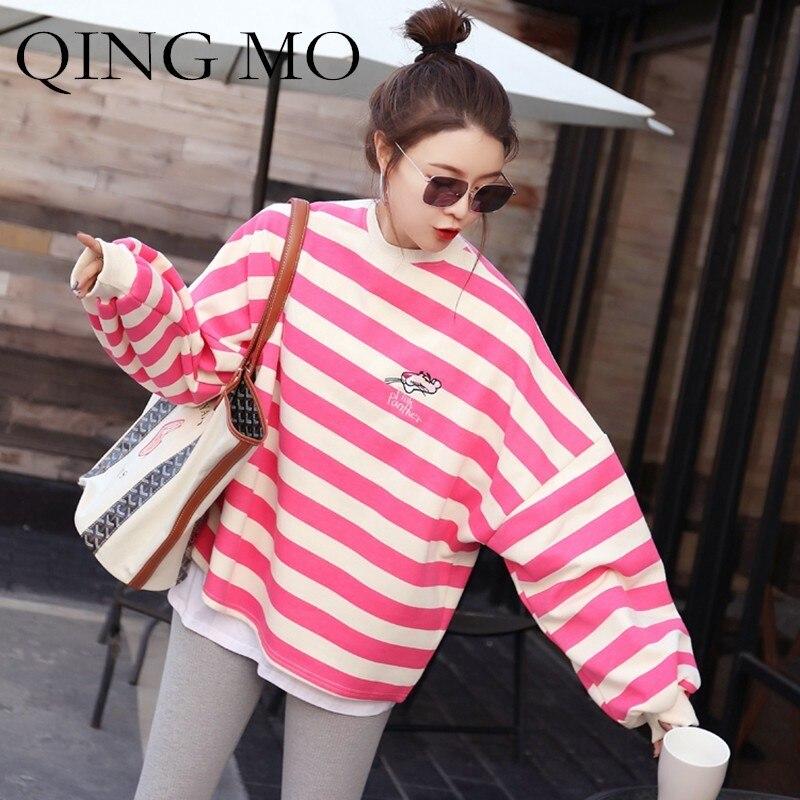Dessinée shirt À Et Automne cou Qf212 Femmes Sweat Lâche Pink Des Rayé Manches O D'hiver Bande Sweat Rose Longues Qing Pull Mo Panthère 0wOknP