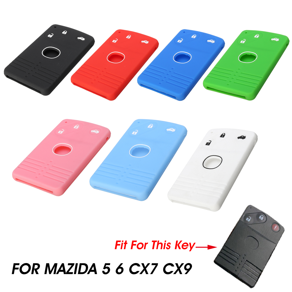 Silicone 3 Buttons Smart Card Key Case Cover FOB For Mazda 5 6 CX-7 CX-9 RX8 MX5