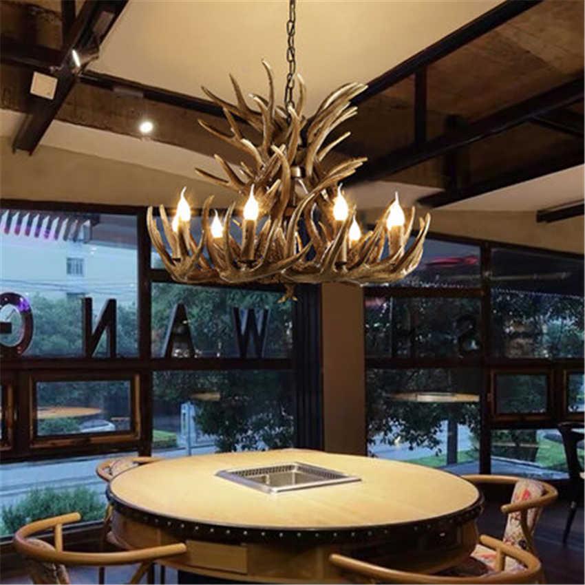 Nirdic свечи Antler светодиодный люстры American Retro смолы Лофт подвесной светильник для внутренней отделки Кухня светильники luminaria