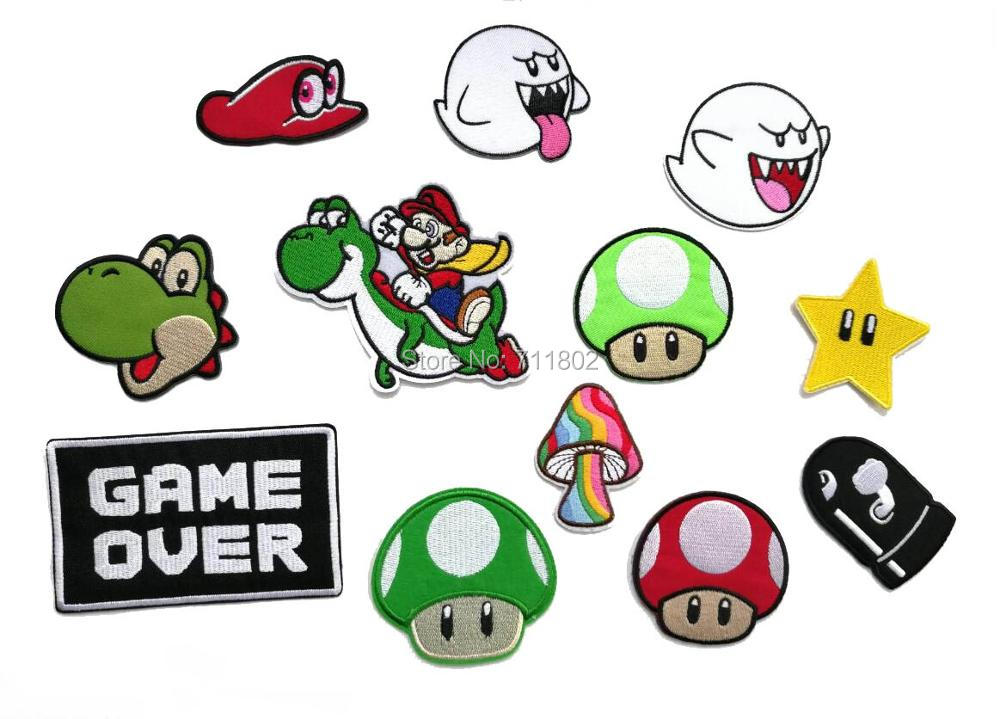 GAME OVER Yoshi iron On Patch Mario Mushroom animal cartoon game Embroidered  cute kid's  Applique accessory