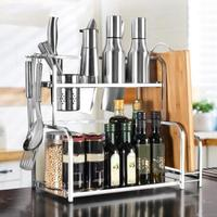 Floor Type Kitchen Storage Rack Stainless Steel Organizer Shelf Condiment Knife Chopping Board Holder Dual Layer Holder