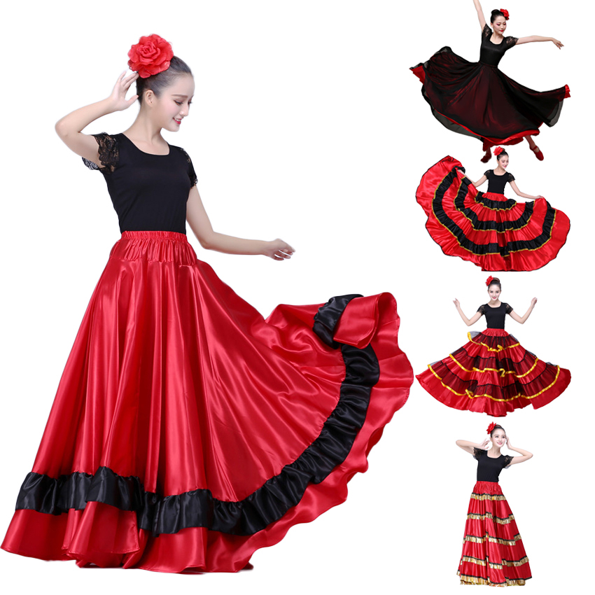 Female Spain Carnival Party Stage Wear Flamenco Skirt Striped Plus Size Lace Belly Dance Costumes for Woman Spanish Dress
