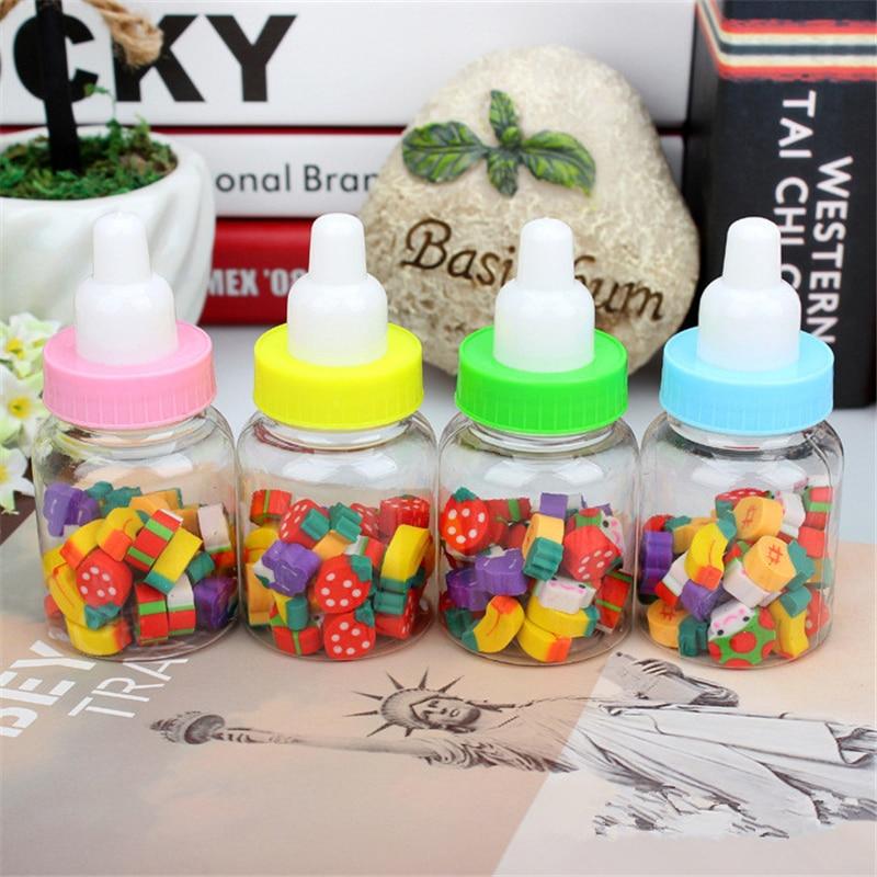 24Pcs/Set Cute Unicorn Fruit Erasers Kawaii Bottle Rubber Erasers For Kids Gilrls Gift School Supplies Novelty Items Stationery