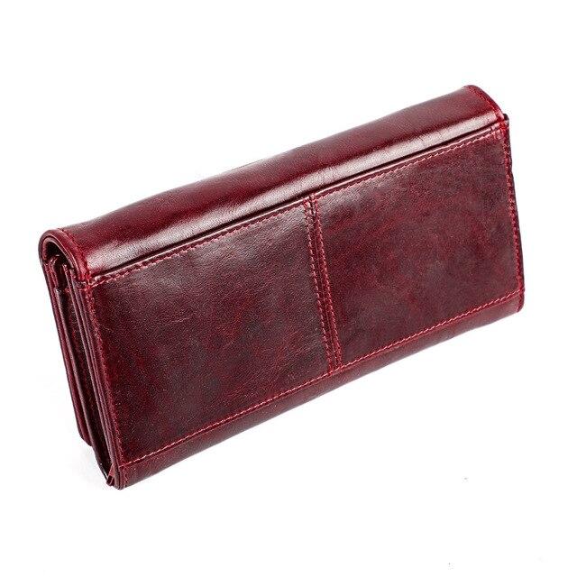0c18f9c0612699 Vintage Frauen Brieftaschen Aus Echtem Leder Weibliche Geldbörse Lange  Retro Damen Brieftasche Zipper Handy Tasche Karte Halter