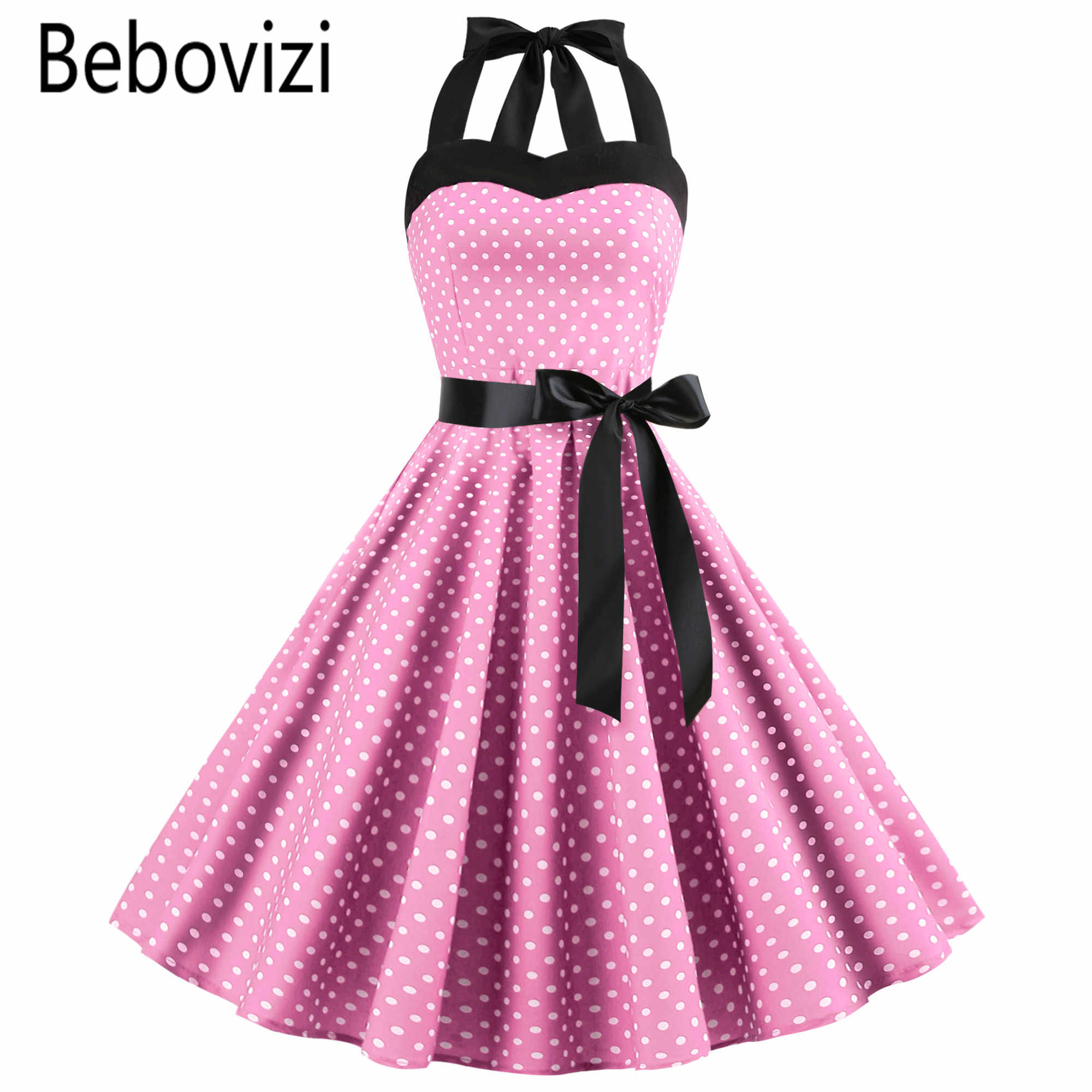 Novo 2019 Rosa Midi Vestido Polka Dot Retro Hepburn 60 50s s Halter Partido Do Vintage Pin Up Rockabilly es robe Plus Size