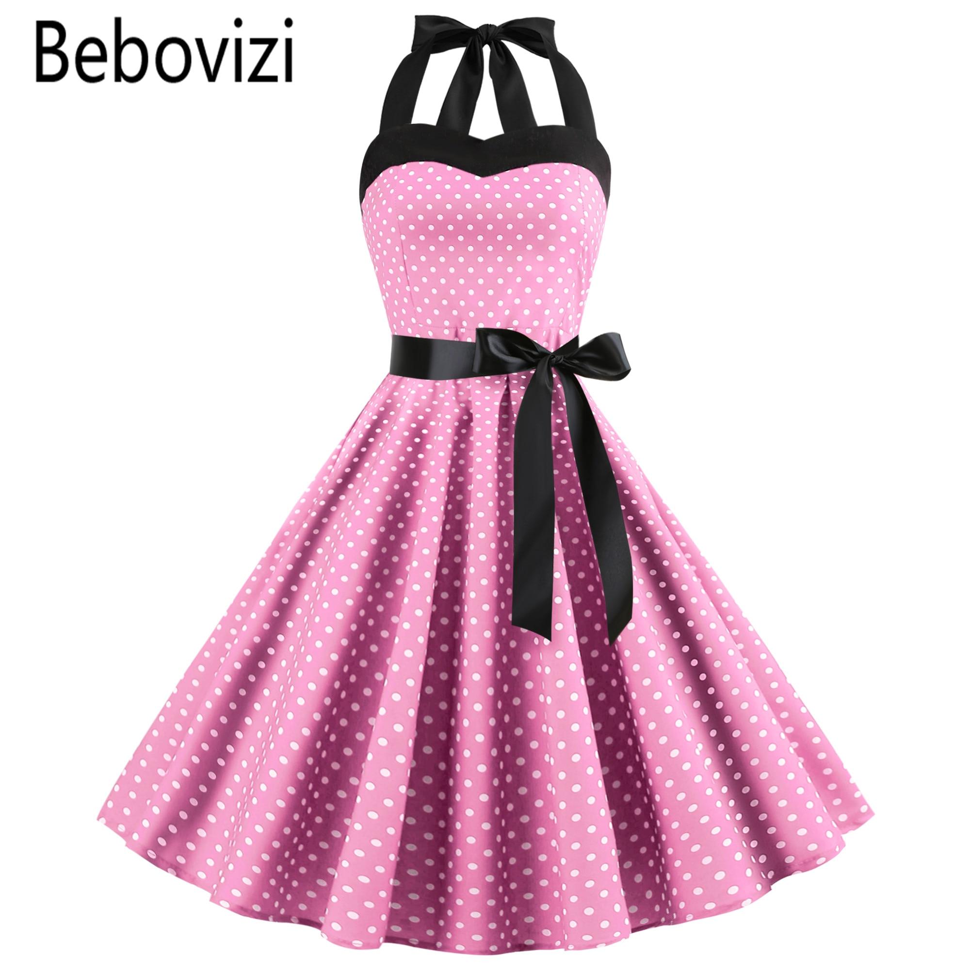 72fcf9d7011 Новый 2019 розовый миди платье ретро горошек Хепберн Винтаж 50 s 60 s  Холтер Вечерние Pin Up рокабилли es халат плюс Размеры