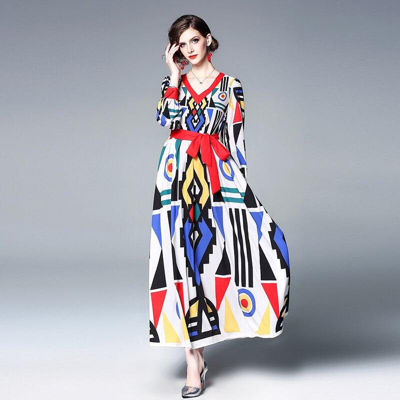 Merchall New 2019 Designer Runway Women Print High Quality Spring Summer Long Maxi Vestidos Robe Femme Bohemian Dress Belt in Dresses from Women 39 s Clothing