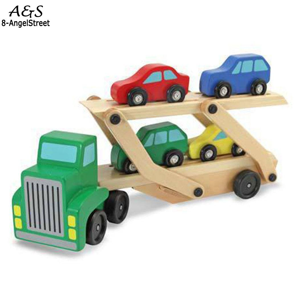 toy Carrier Toys model hot children toys Car wheels Truck Wooden Toys car 4 car with Cars Kids for 2018 Gifts Fun