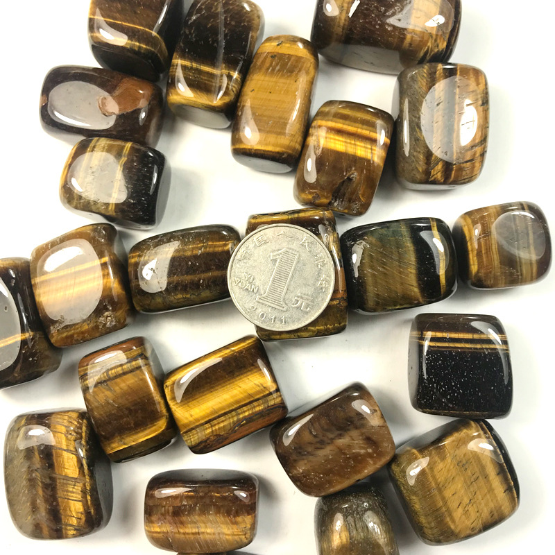 100g natural yellow tiger eye hand piece crystal crushed stone degaussing DIY ji landscaping decoration quartz natural stone in Stones from Home Garden