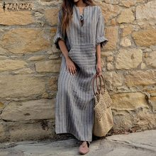 ZANZEA Women Striped Dress 2019 Autumn Vintage Casual Loose Maxi Long Dresses Sexy V Neck Long Sleeve Vestidos Plus Size