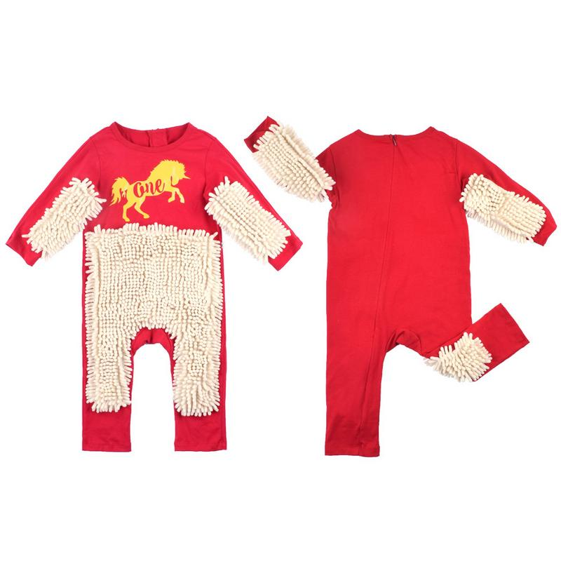 Newborn Baby Clothes Long Sleeve Crawls Mop Suit Crawling Jumpsuit Playsuit Autumn Boy Girl   Rompers   Winter Mop One Piece   Rompers