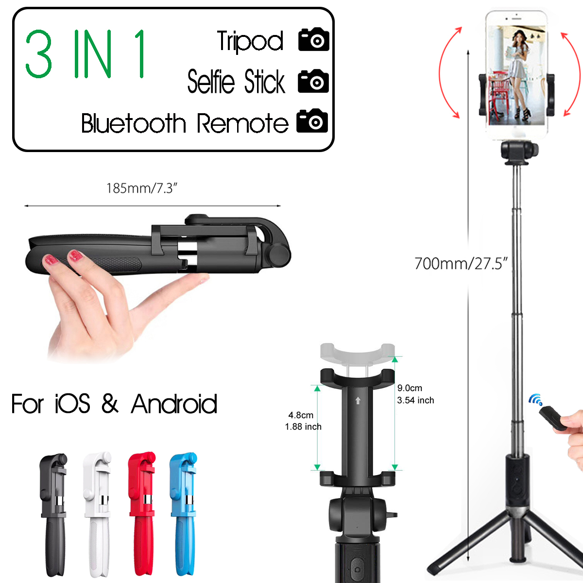 d70de6f7d7eb75 Universal Phone Self Selfie Stick bluetooth Handheld Tripods Monopod  Portable Stand + bluetooth Wireless Remote Controller