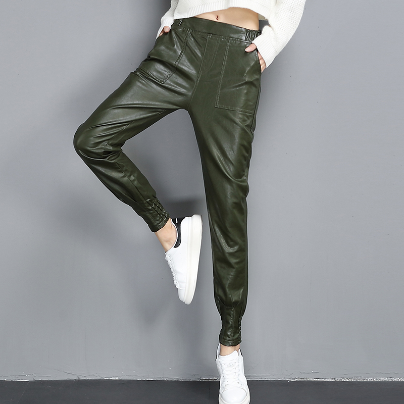 #0566 Autumn Winter Faux Leather Pants Women PU Harem Pants Elastic High Waist Casual Trousers Plus Size S XXL Black/Green Tide
