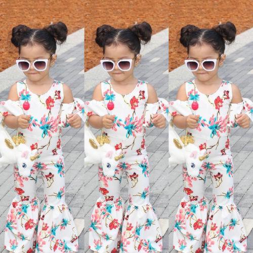 d9ed4eba0156 2019 Newborn Floral Romper Lovely Baby Girls Floral Romper Off Shoulder  Jumpsuit Playsuit Wide Leg Pant Clothes Children Outfit