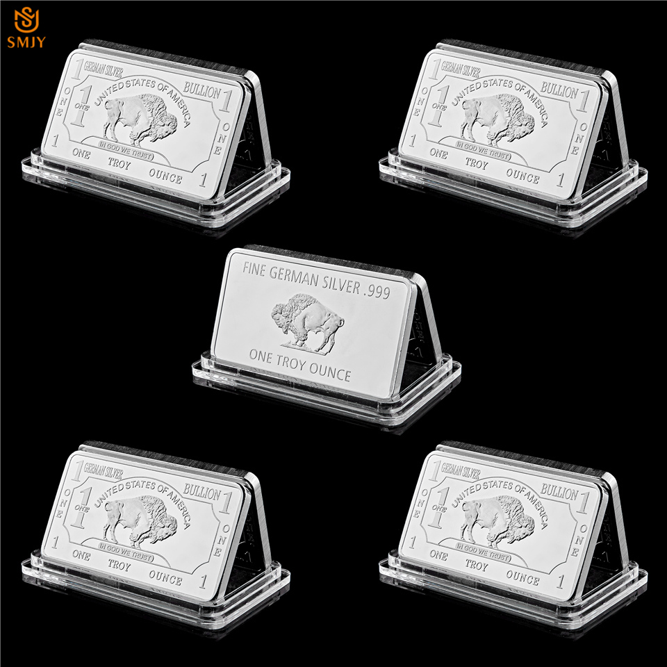 5Pcs Germany Mint 1 Troy Ounce Buffalo Souvenir Silver Medal Bar Euro Replica Coin Collection Gift - In God We Trust