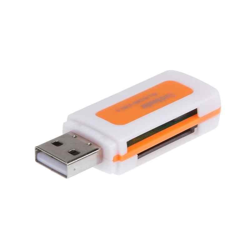مصغرة USB2.0 4 فتحات بطاقة قارئ بطاقات الذكية SD/MMC TF MS M2 قارئ بطاقات ل SD/Mini-SD/SD الترا/MMC/MMCII/RS-MMC/HS-MMC/SDHC