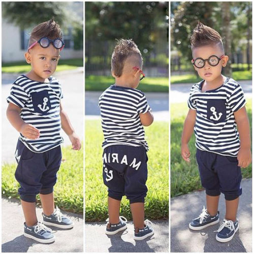 Pudcoco Boy Set Sailor-Outfits Kids Toddler Summer Anchor-Tops Half-Pant US Striped 2Y-7Y