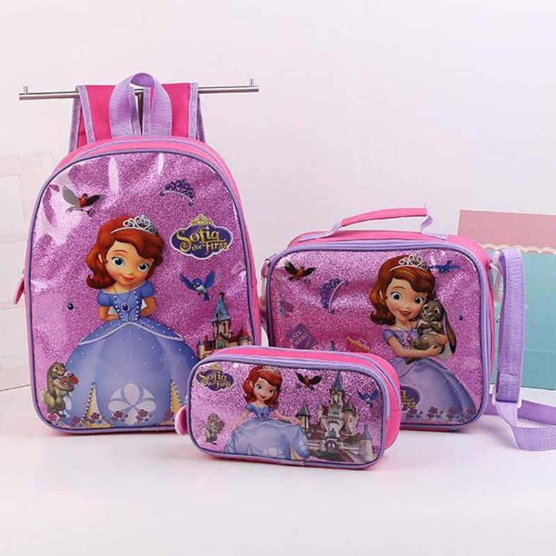 c19c70ee7fe ... Elsa Princess Backpacks Children School Bag With Lunch Pencil Case 3  Piece Set Kids Kindergarten Preschool ...