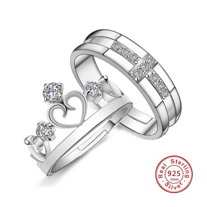 Real 925 เงินมงกุฎคลาสสิกคุณภาพสูงโครเมี่ยมเปิดแหวนสำหรับชายหญิงคู่หมั้นแฟชั่น JN0341