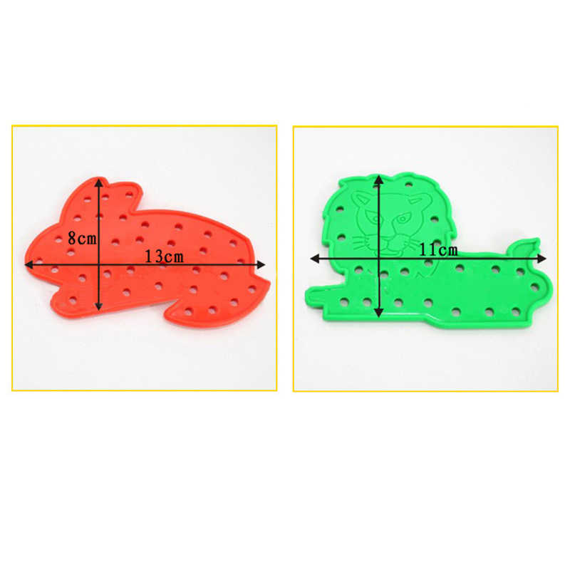 Puzzles Animal Fruit Lacing Shapes Wood Puzzles Toys Kids Thread Embroidery Diy Toy Children Learning Educational Toys