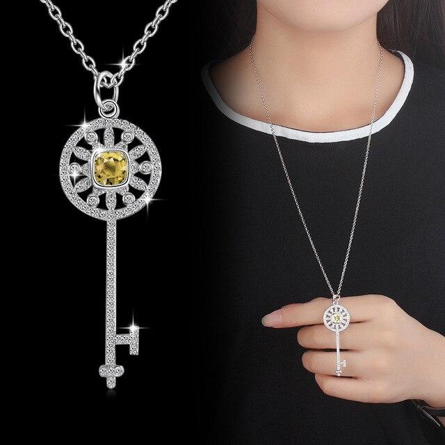 9672982b8186 Redondo Cz corazón clave colgante collar esqueleto infinito amor regalo  llave de plata de ley 925