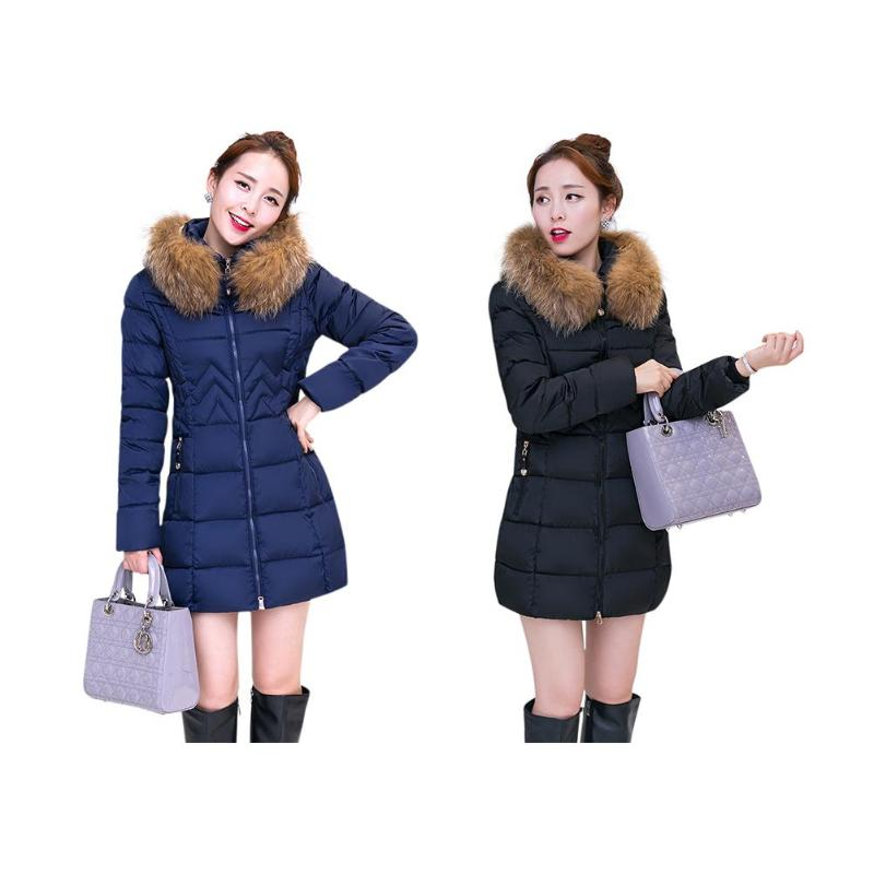 Winter Warm Jackets Slim Fit Thicken Hooded Women Long   Parkas   Solid Color Fur Collar Pockets Thick Warm Outerwear
