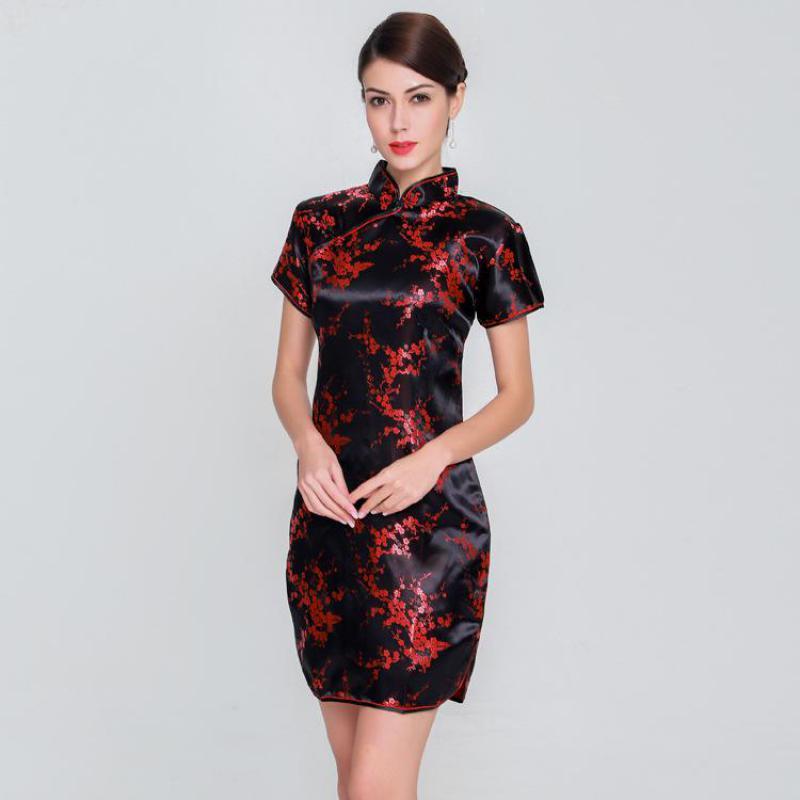 Elegante Dünne Plus Größe Qipao 2019 Neue Chinesische Weibliche Rayon Kleid Mandarin Kragen Vintage Cheongsam Vestidos S-3XL 4XL 5XL 6XL