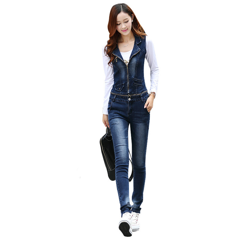 80c5b89e8eba Free Shipping 2019 New Fashion Suspenders Jeans Trousers Jumpsuit For Women  Plus Size Pencil Pants Overalls Rompers Detachable-in Jeans from Women s ...