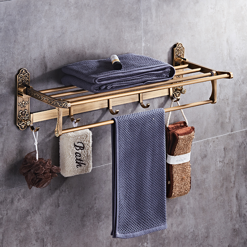 Badezimmer Regale Trendmarkierung Falten Weiß Gold Bad Handtuch Rack Aktive Bad Bad Halter Antike Doppel Handtuch Regal Schwarz/weiß Handtuch Rack Heimwerker