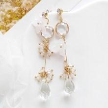 Korean New Purple Crystal Water Drop Dangle Earrings Trend Fashion Crysta Vintage Design Party Girl Statement Earring