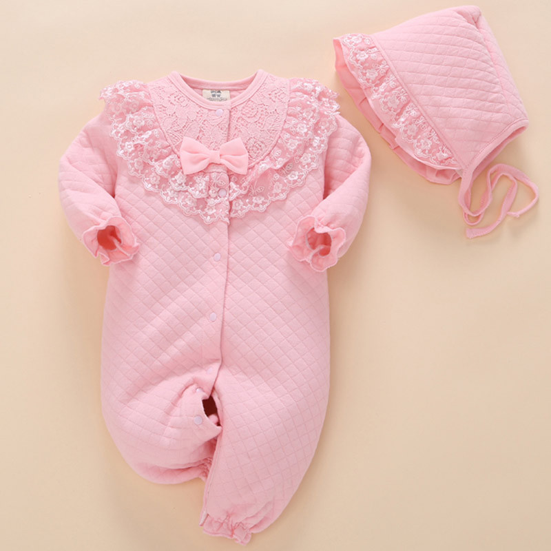 1 set baby twins girls bodysuit hat 3m 6m 9m  princess jumpers soft cotton