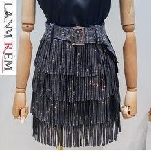 30a8699e3d0 LANMREM 2019 été nouveau mode vêtements pour femmes chaud forage glands  Paillette jupe avec ceinture offre spéciale all-match fo.