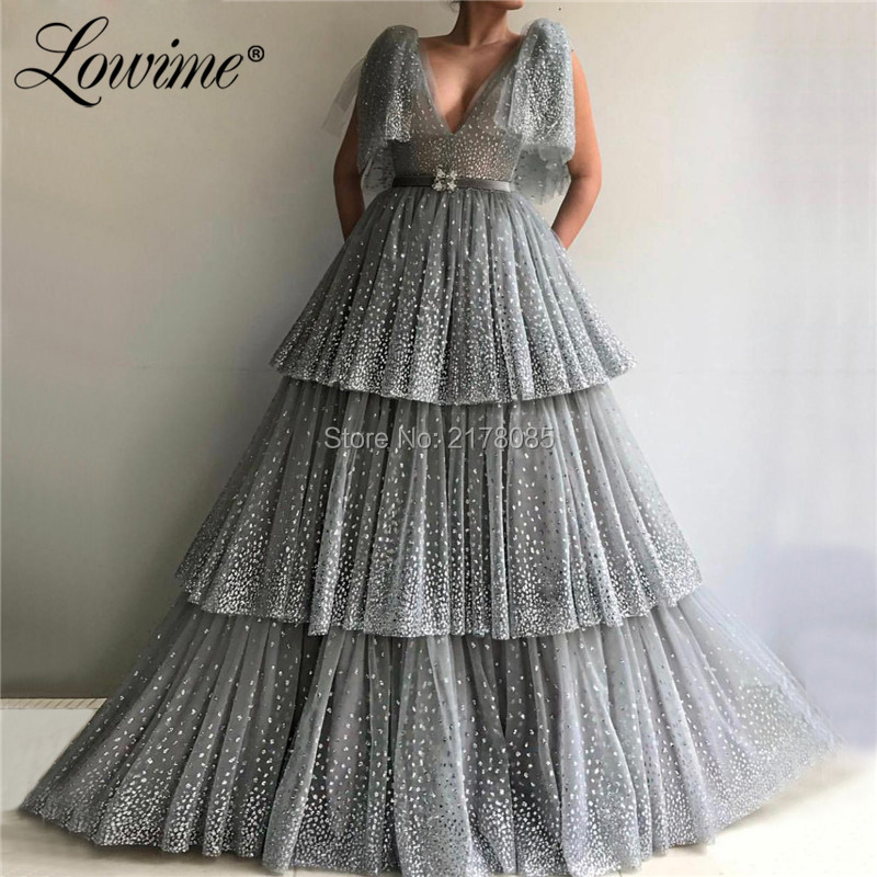 Silver Glitter Deep V Neck   Prom     Dresses   Evening Gowns 2019 With Short Sleeves Tiered Dubai Arabic Party   Dress   Couture
