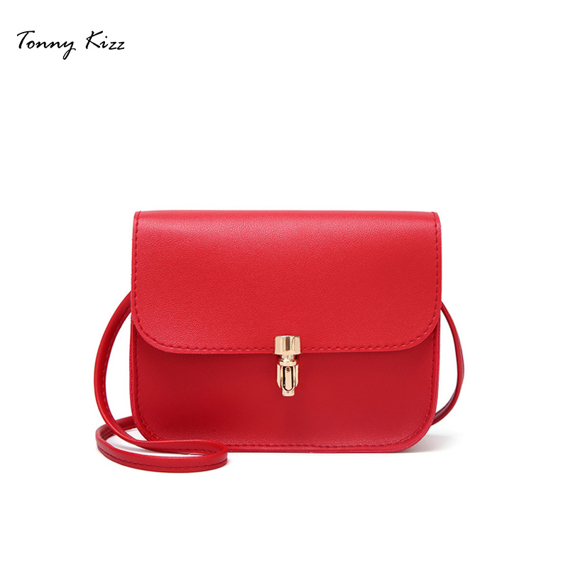 Tonny Kizz small women shoulder bags solid color lady mini crossbody red PU leather messenger large capacity new