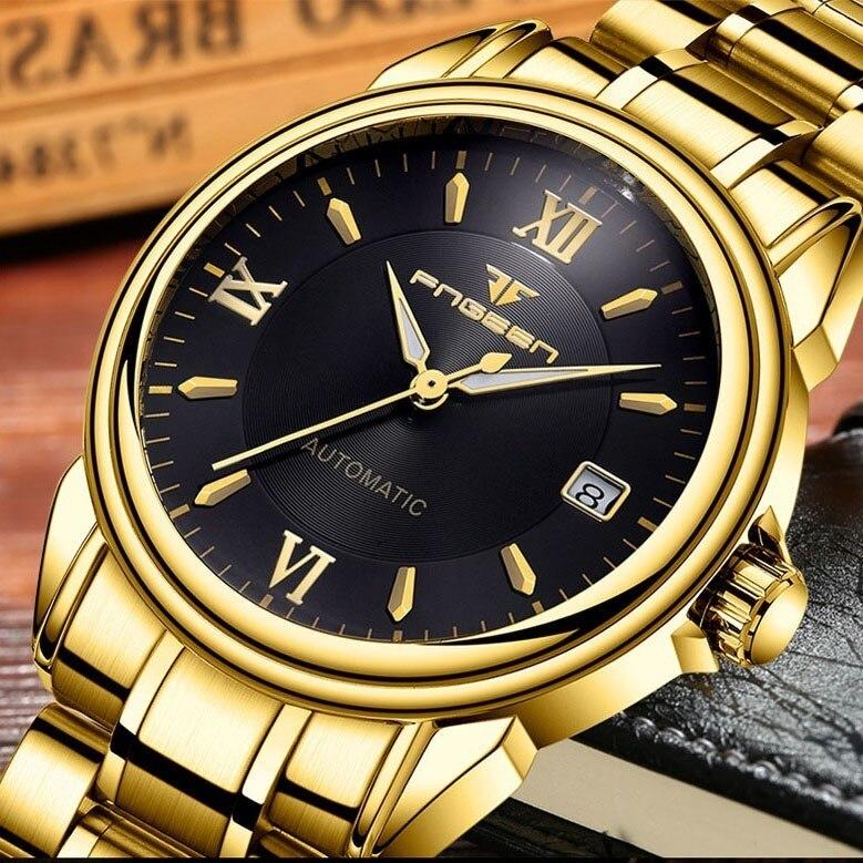 FNGEEN montre entièrement automatique hommes or montres mécaniques étanche mains lumineuses Date calendrier montre automatique homme 6602