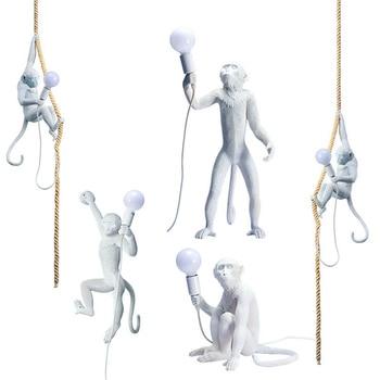 Nordic White Monkey Led Resin Pendant Lights Living Room Restaurant Bedroom Kitchen Fixtures Hanging Lamp  Luminaire Luminaria