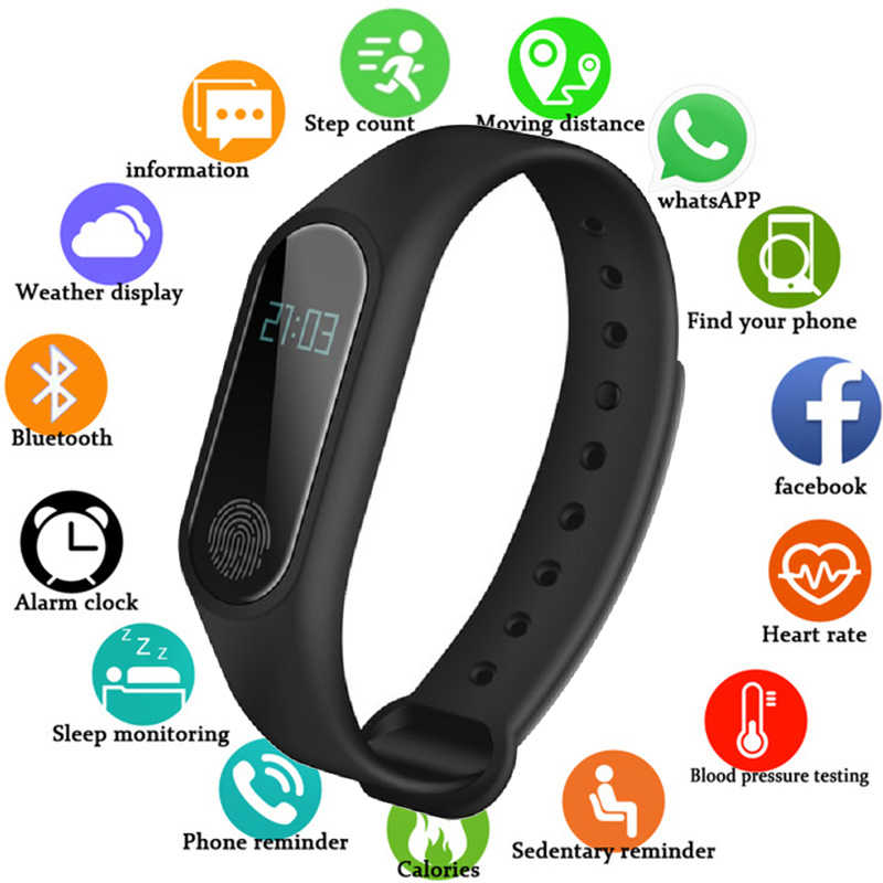 NEW Smart Band Waterproof with Heart Rate Monitor Smart Wristband Pedometer Fitness Tracker Smart Watch Women Men Sport Watch