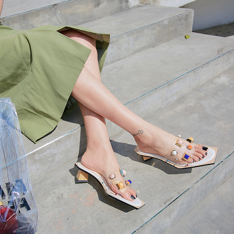 Fashion 2019 PVC Slides in Square toe Transparent Material with Colorful Crystal Embellished Mid High Heel Size 34-43Fashion 2019 PVC Slides in Square toe Transparent Material with Colorful Crystal Embellished Mid High Heel Size 34-43