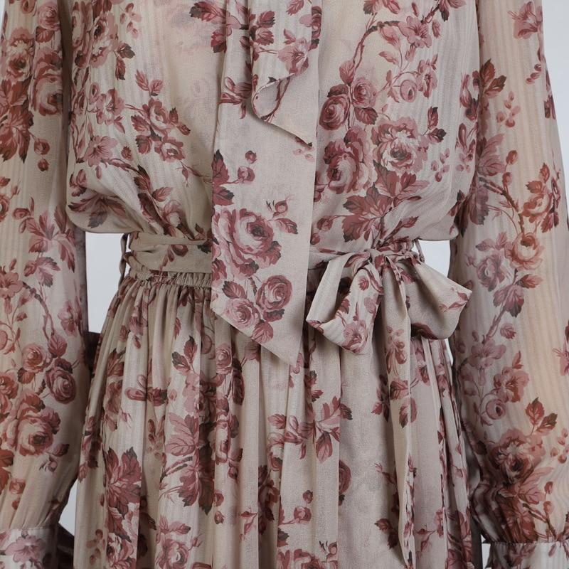 Arc Manches Vêtements Col 2019 Deat Femmes Two Roulé Fleur Printemps Ceintures Piece Robe Taille Imprimé De Lanterne Et Nouveau Set Mode D'été 84zqOwB4