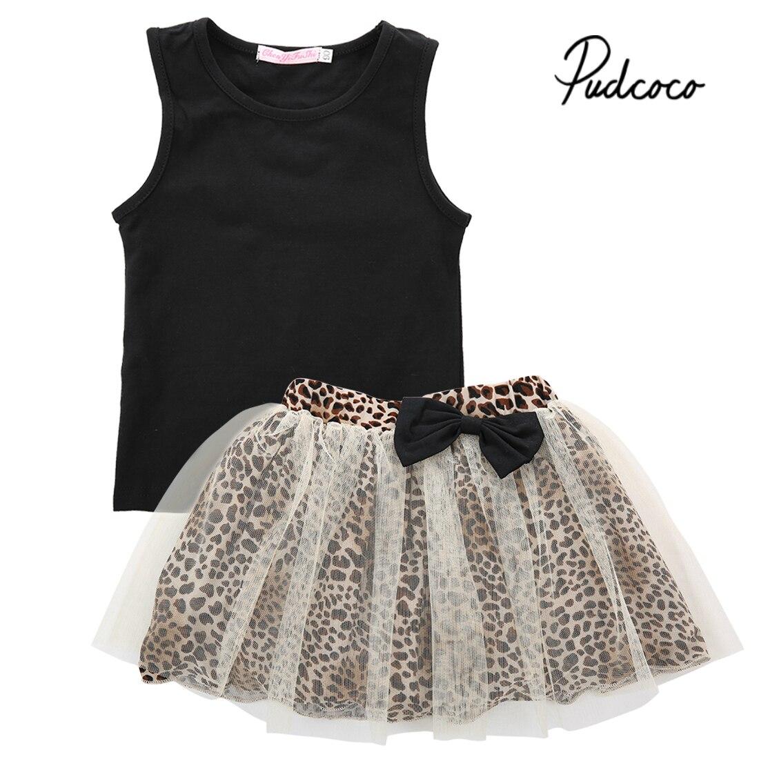 104983852 pudcoco 2019 Toddler Kids Baby Girl Black Tank Tops+Bow Mesh Leopard Skirts  Summer Sleeveless