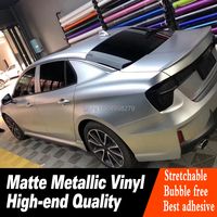 Highest quality matte metallic Silver Vinyl Wrap For Luxury Car Wrapping with air bubble Free Car Styling foil Warranty 5 years