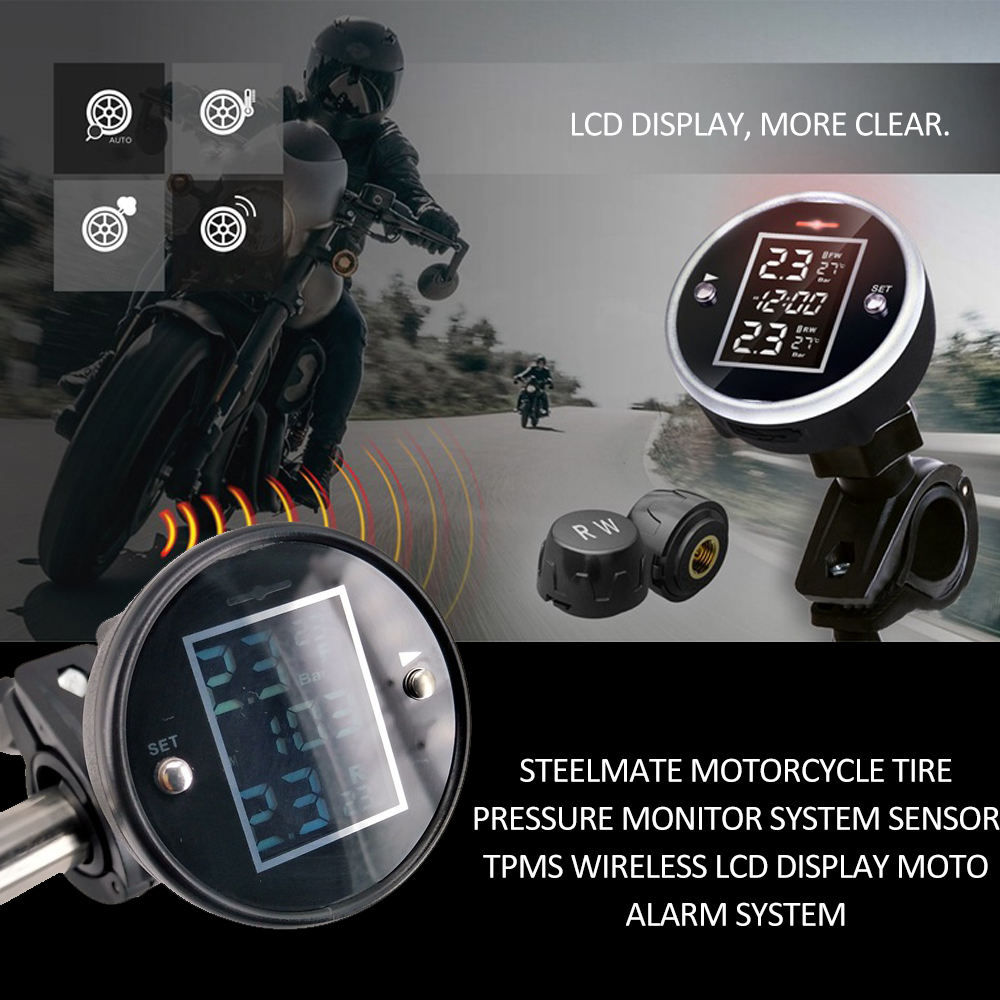 Steelmate Motorcycle Tire Pressure Monitor System Sensor TPMS Wireless LCD Display Moto Alarm System Auto Accessories