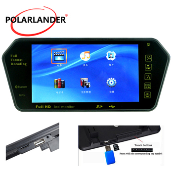 7 Inch Color TFT LCD 1024x600 MP5 TF USB FM transmitter Car Rear  Mirror Monitor Parking Monitor Bluetooth reversing priority