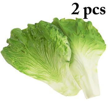 2 sztuk sztuczny zielony liście sałaty pcv materiał fałszywy warzyw Model dla dzieci udawaj że bawisz się w kuchni zabawki sztuczna żywność tanie i dobre opinie