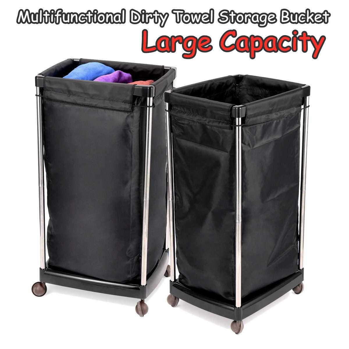 Salon Hotel Gym Bath Dirty Towel Storage Basket with Wheels Laundry Clothes Organizer Bucket Trolley Cart Reusable Multifunction