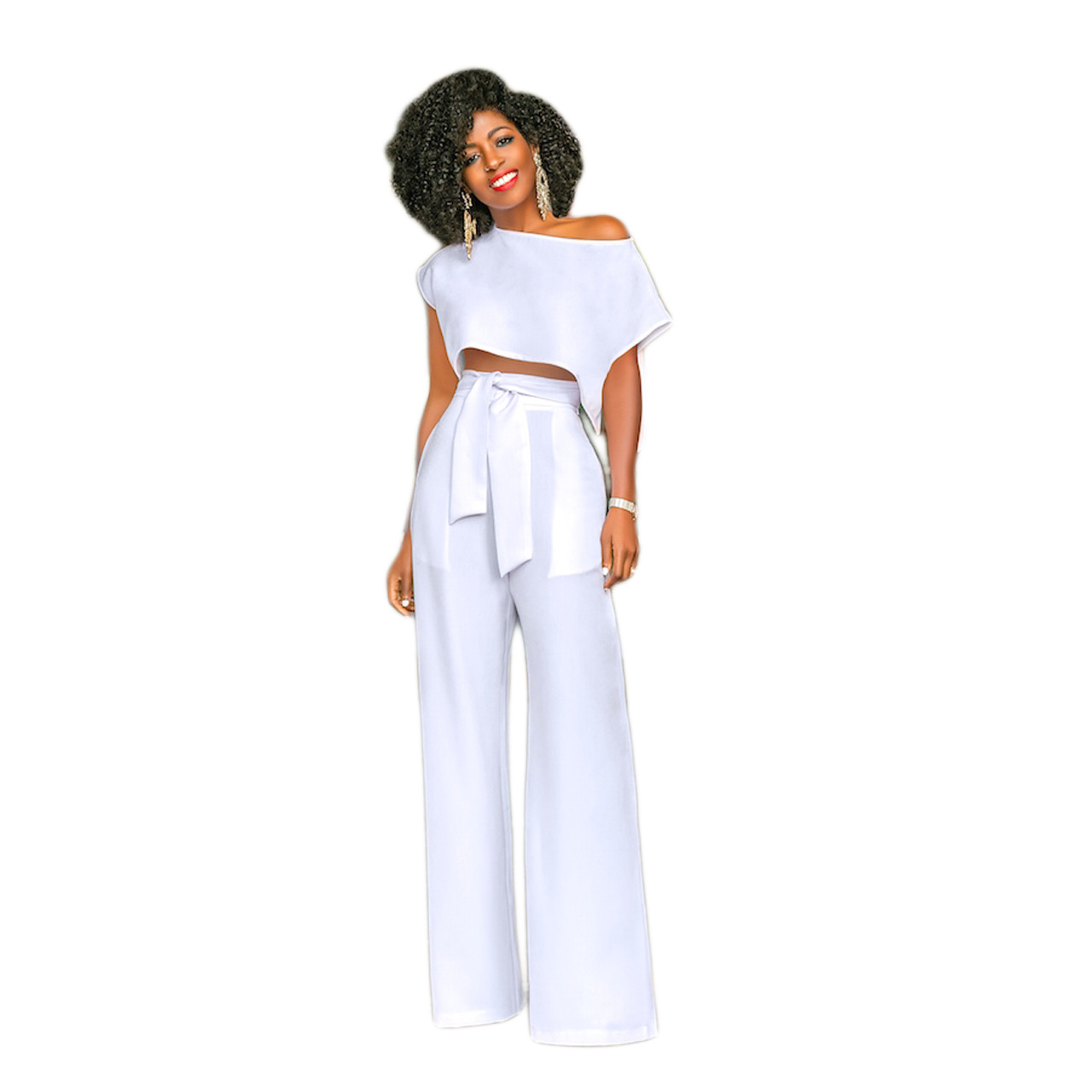 2019 Runway Women One Shoulder Crop Top Solid Pants Sets Summer Short Sleeve Crop Top Wide Leg Trousers 2 PCs Lace Up Outfits in Women 39 s Sets from Women 39 s Clothing