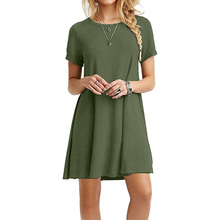 цены Women Summer dress High Quality Fashion Plus Size Round Neck casual Solid Pullover Short Sleeves O-Neck Mini dress vestidos