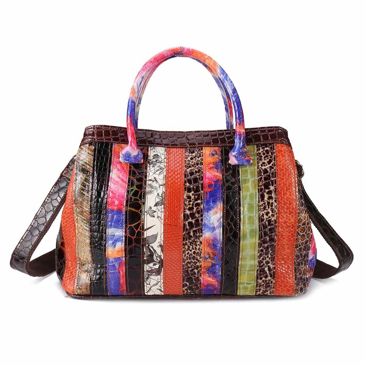 AEQUEEN Mulheres Bolsas De Couro Genuíno Patchwork Floral sacos de Mão Sacos Crossbody Do Vintage Bohemian Feminino Bolsa Cor Aleatória